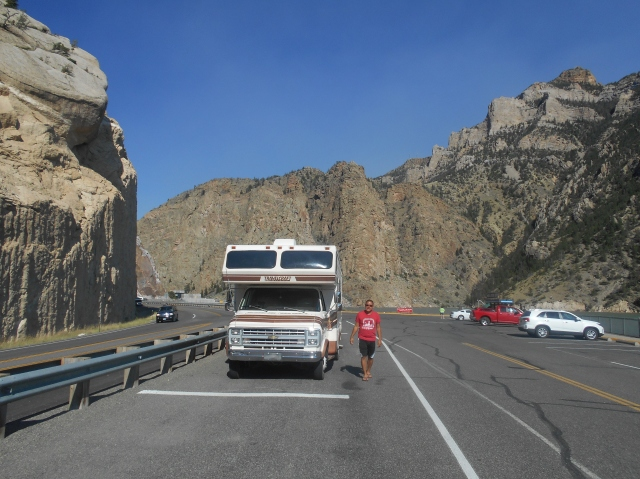 Parked at the Buffalo Bill Reservoir in Wyoming