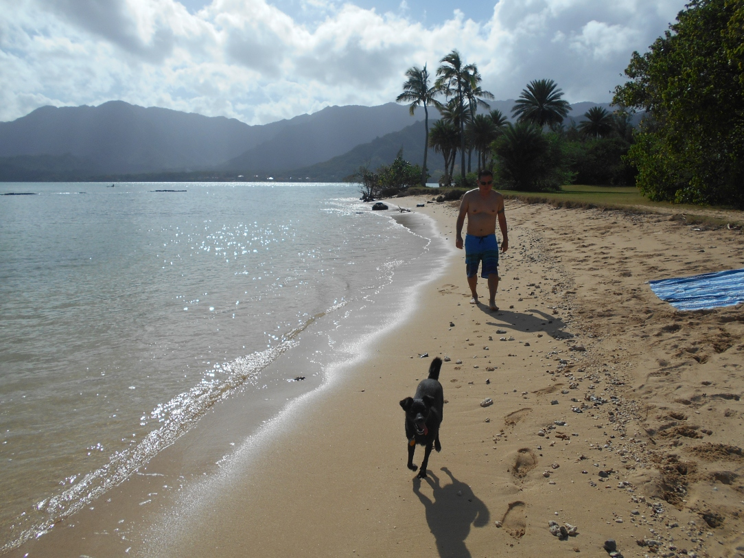 Jonathan and Pono enjoying a nice beach walk